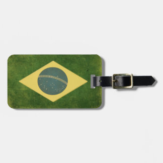 Luggage Tag with Dirty Vintage Flag from Brazil