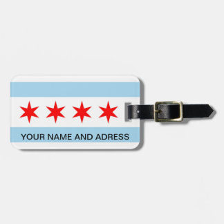 Luggage Tag with Flag of Chicago, Illinois, USA