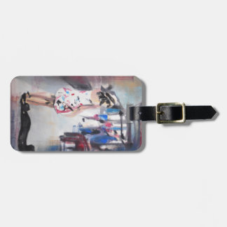 Luggage tag with painting 'station'