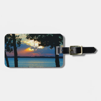 "Luggage Tag with print ""Sunset Ablaze""."