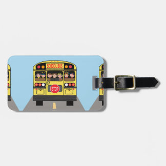 Luggage tag with school bus.