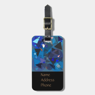 """Luggage Tag with """"Triangles Denim"""" design."""