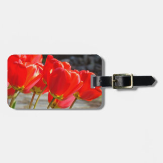 Luggage Tags custom Red Tulip Flowers Floral