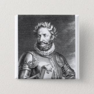 Luiz Vaz de Camoes  engraved by B. Roger 15 Cm Square Badge