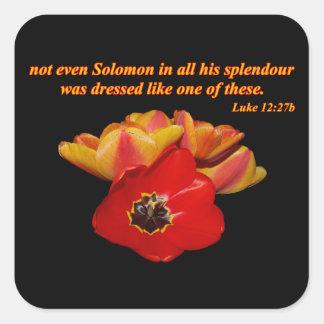 luke 12:27b and bright tulips square sticker