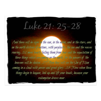 Luke 21:25-28 verses with Moon Postcard