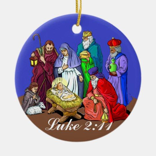 Luke 2:11 Nativity Scene Christmas Ornament