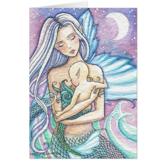 Lullaby Mermaid and Baby Greeting Card