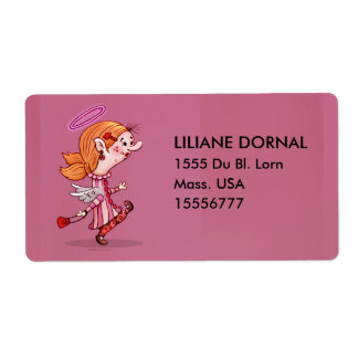 LULU ANGEL CARTOON ÉTIQUETTE TAG SHIPPING LABEL