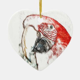 Lulu Macaw Head Sketch Ceramic Heart Decoration