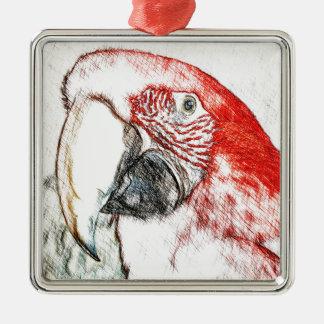 Lulu Macaw Head Sketch Christmas Ornament