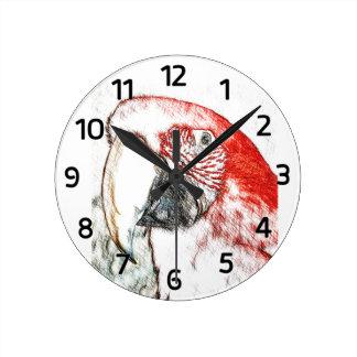 Lulu Macaw Head Sketch Wall Clock (with Numerals)