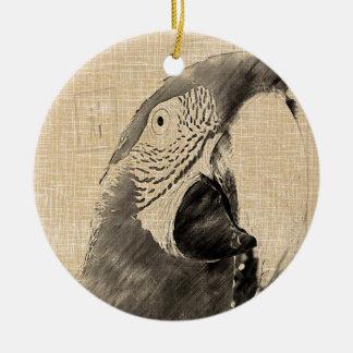 Lulu Macaw Sketch Round Ceramic Decoration