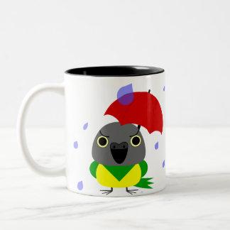 Lulu, the Senegal Parrot, stuck in the rain Two-Tone Coffee Mug