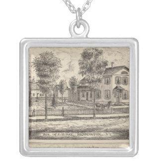 Lumber and Grist Mills in Arlington Vermont Silver Plated Necklace