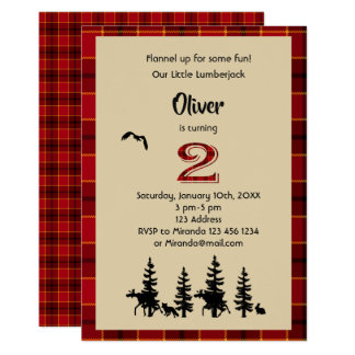 Lumberjack 2nd birthday party invitation