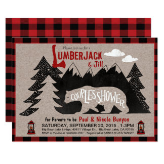 Lumberjack and Jill Couples Coed Baby Shower 13 Cm X 18 Cm Invitation Card
