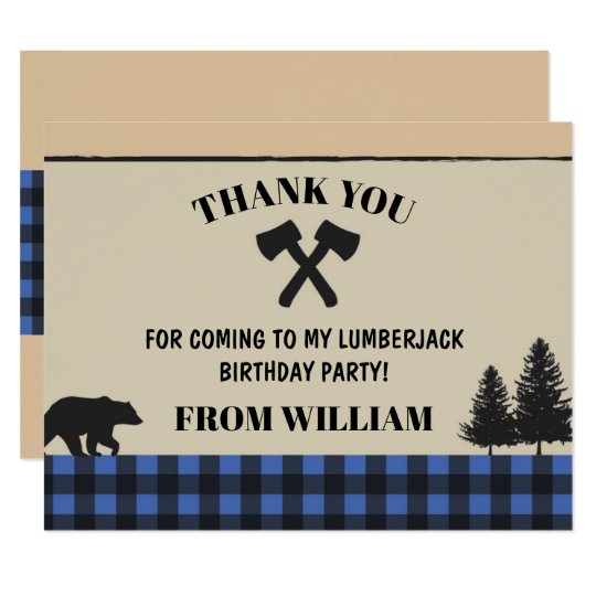 Lumberjack Axe Check Birthday Party Thank You Card