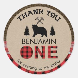 Lumberjack Bear 1st Birthday Favour Sticker