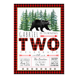 Lumberjack Bear Boy 2nd Birthday Party Invitations