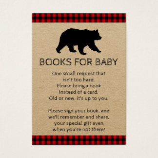Lumberjack Bear Bring A Book Baby Shower Cards