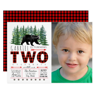 Lumberjack Bear Photo 2nd Birthday Invitations
