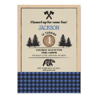 Lumberjack Bear Wood Birthday Party Any Age Invite