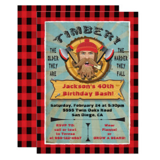 Lumberjack Beard Birthday Hipster Invitation