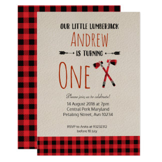 Lumberjack Birthday Woodland Invitation