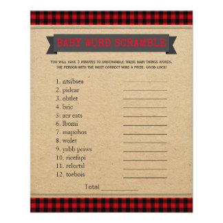 Lumberjack Boho Baby Shower Games Word Scramble 11.5 Cm X 14 Cm Flyer