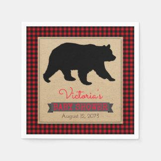 Lumberjack Buffalo Plaid Bear Baby Shower Disposable Napkins