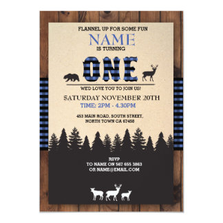 Lumberjack First Birthday ONE Blue Check Invite