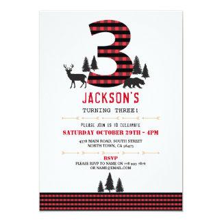 Lumberjack Flannel 3rd 3 Birthday Party Invitation