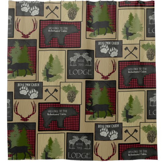 Lumberjack Mountain Bear Deer Cabin Personalised Shower Curtain