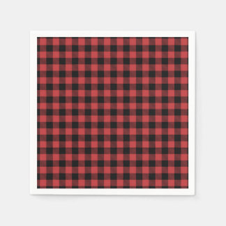 Lumberjack Paper Napkin Red Black Plaid checkered
