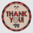 Lumberjack Party Favour Tags Thank You Sticker