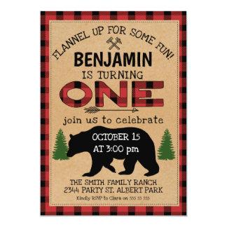 Lumberjack Plaid Bear Birthday Invitation