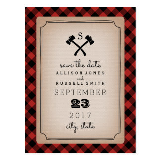 Lumberjack Plaid Monogram Ax Save The Date Postcard