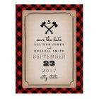 Lumberjack Plaid Monogram Axe Save The Date Postcard