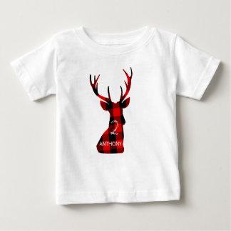 Lumberjack Plaid Red Deer Head Antlers Birthday Baby T-Shirt