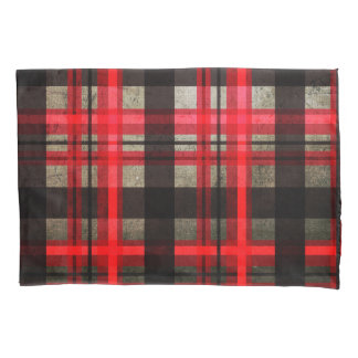 Lumberjack Plaid Tartan Red,Black & Gray Urban Pillowcase