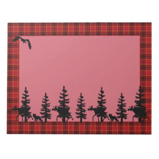 Lumberjack red plaid black wildlife silhouhettes notepad