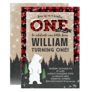 Lumberjack Winter ONEderland Birthday Invitation