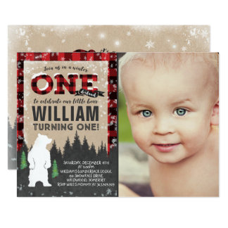 Lumberjack Winter ONEderland Birthday Invitation