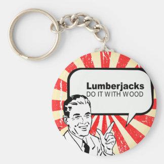Lumberjacks do it with wood basic round button key ring