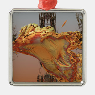 """""""Luminescence"""" 3D fractal art, agate and brass Christmas Tree Ornaments"""