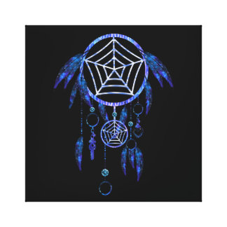 Luminescent Blue Tribal Dreamcatcher Canvas Print
