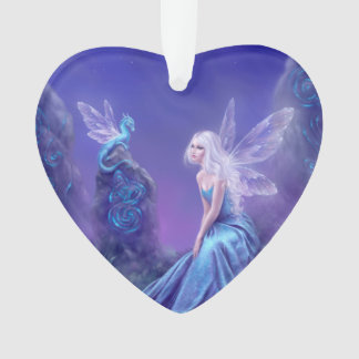 Luminescent Fairy & Dragon Acrylic Heart Ornament