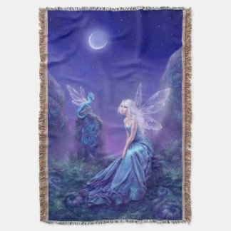 Luminescent Fairy & Dragon Art Throw Blanket