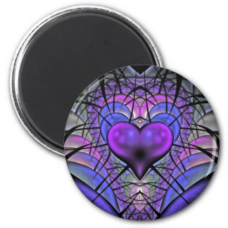 Luminescent Heart Fractal Refrigerator Magnets